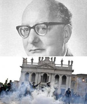 In alto una foto d'archivio di Oronzo Reale. in basso gli scontri a piazza San Giovanni - 300x01318921276952comboreale