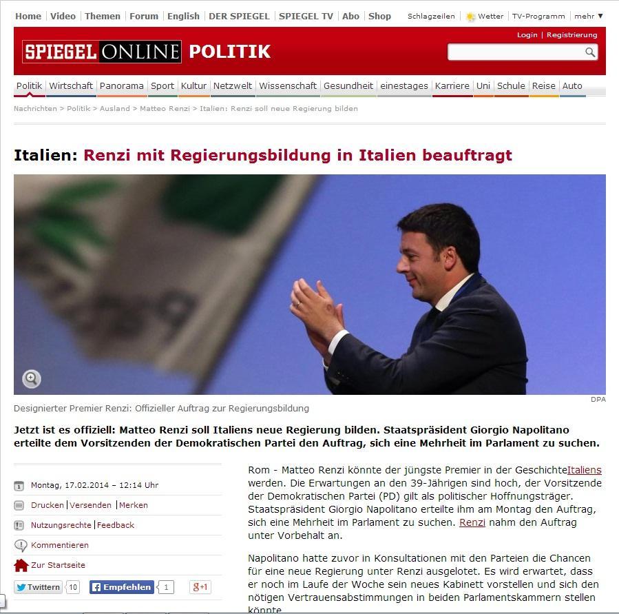 Renzi incaricato di formare il governo la notizia sui for Spiegel tv news