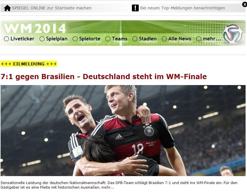 La germania va a rio il brasile va a casa la notizia for Spiegel tv news