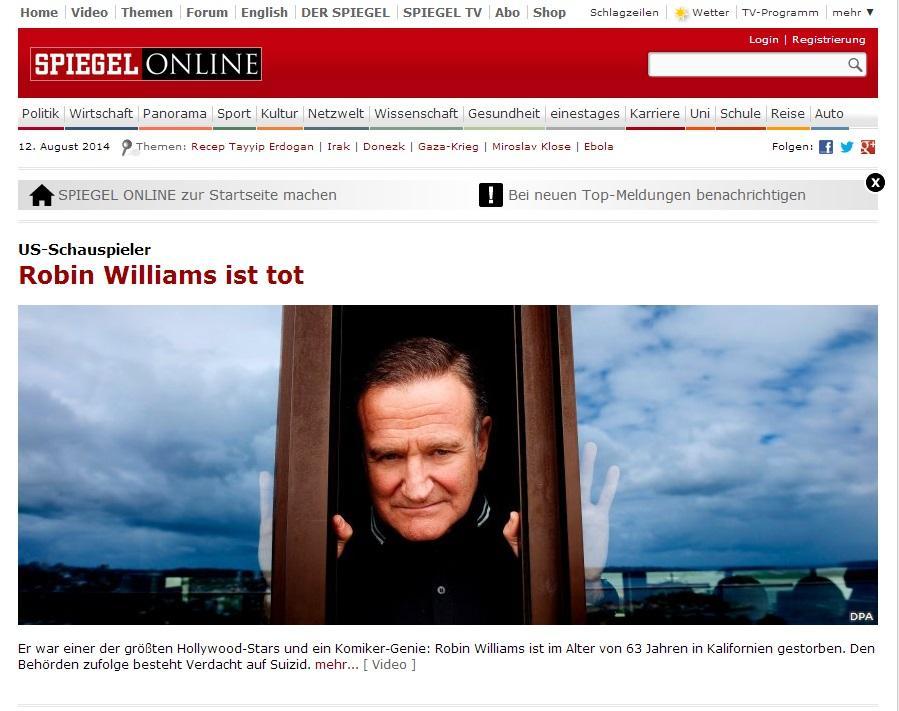 Addio a robin williams la notizia sui siti internazionali for Spiegel tv news