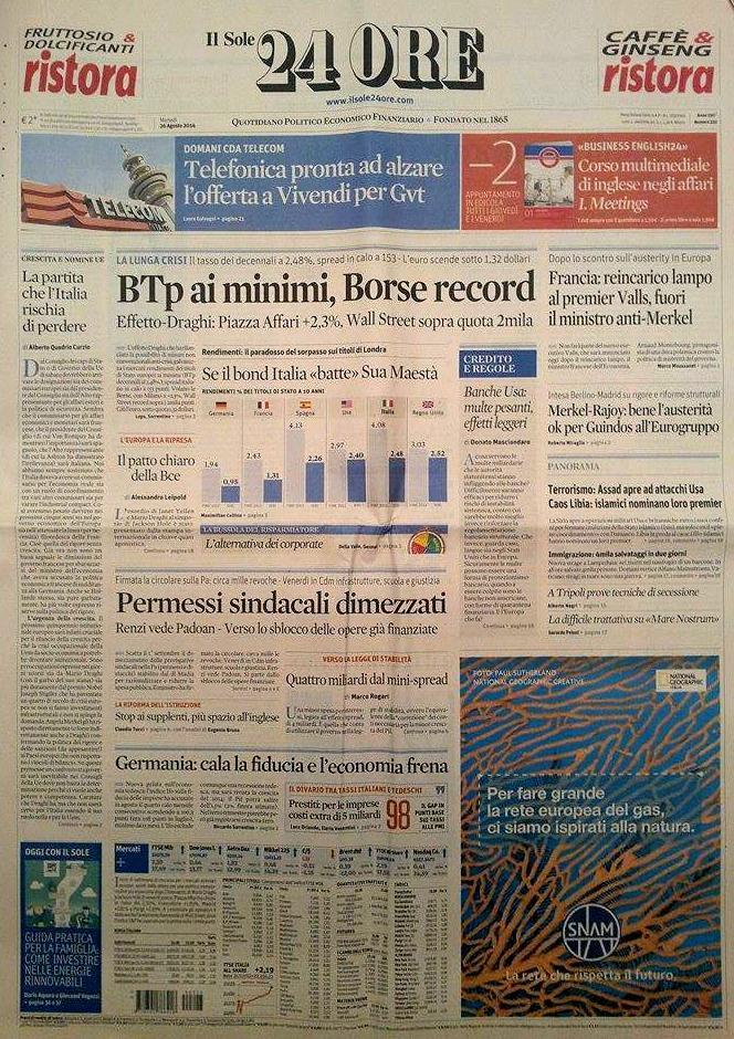 Fotorassegna stampa, i giornali di martedì 26 agosto