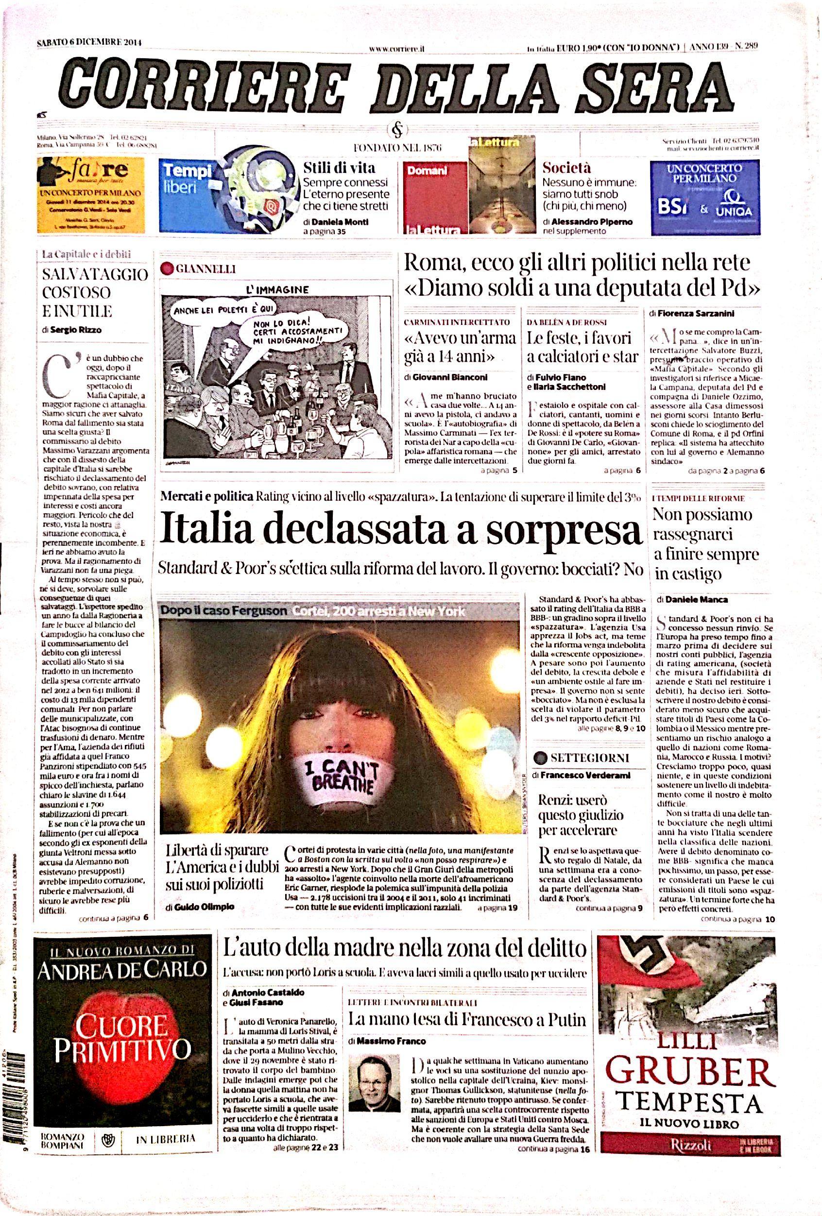 Fotorassegna stampa del 6 dicembre 2014