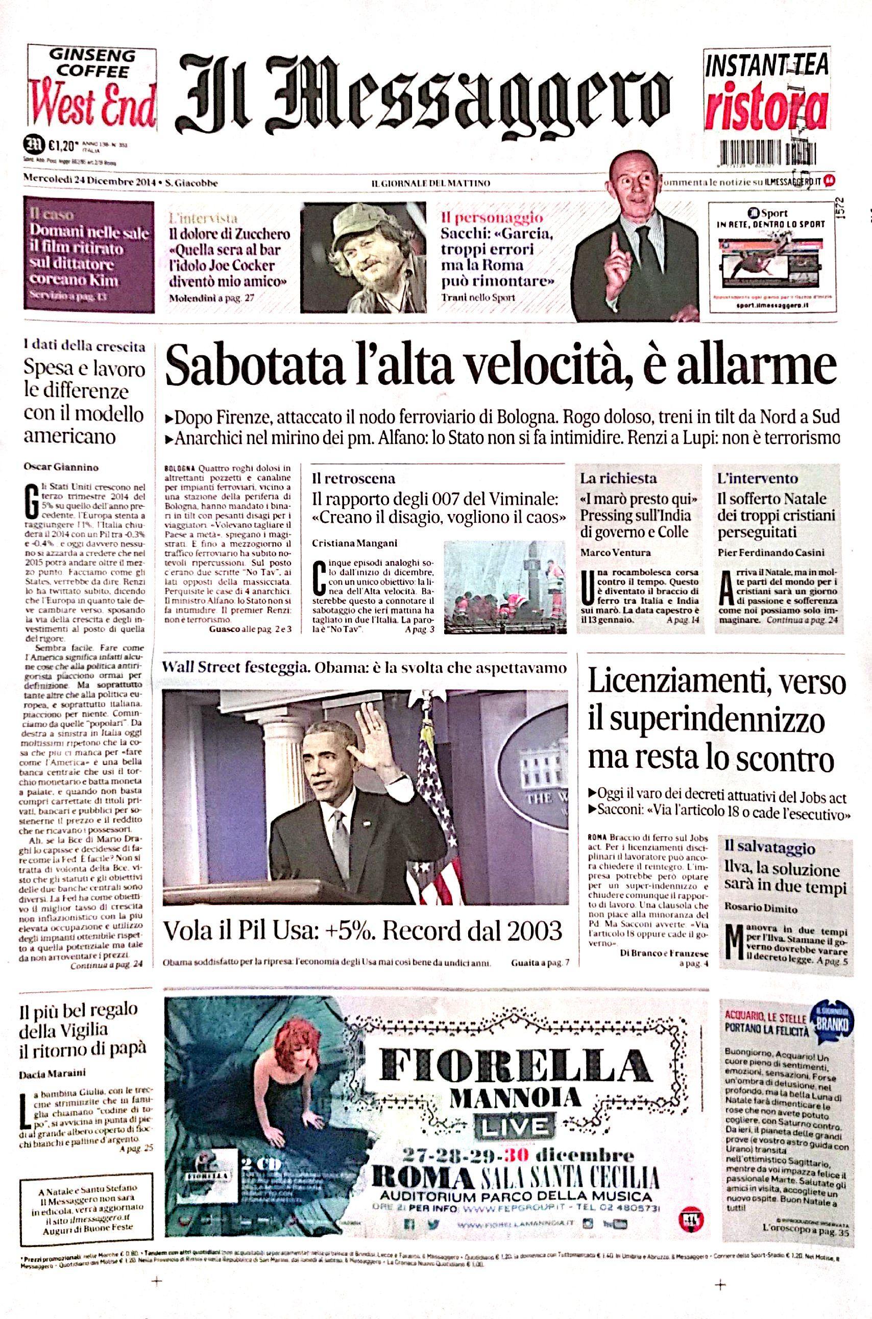 Fotorassegna stampa. I giornali di Mercoledì 24 Dicembre 2014