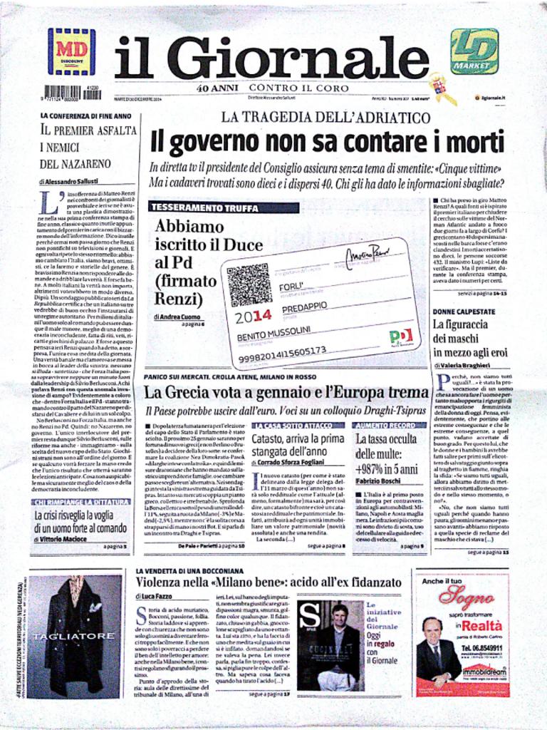 Fotorassegna stampa. I giornali di martedì 30 Dicembre 2014