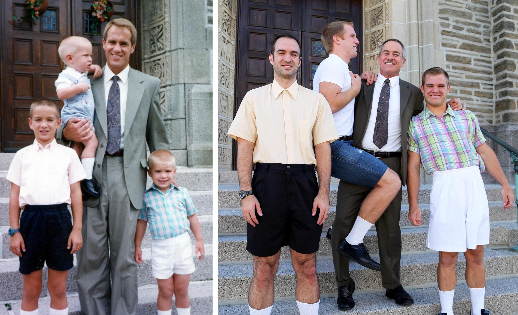Bilderesultat for hermanos recrean fotos de su infancia
